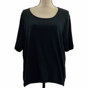 By Chico's Black Short Sleeve Round Neck T-Shirt